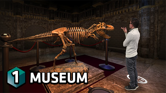 Learn about dinosaurs in the holographic museum