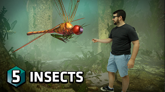 View giant hologram insects from the past and learn about the different types