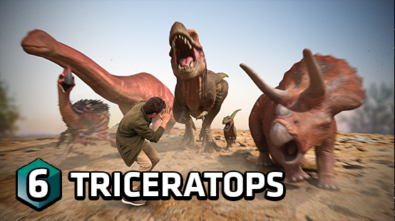It's a stampede! Dodge the triceratops to earn points
